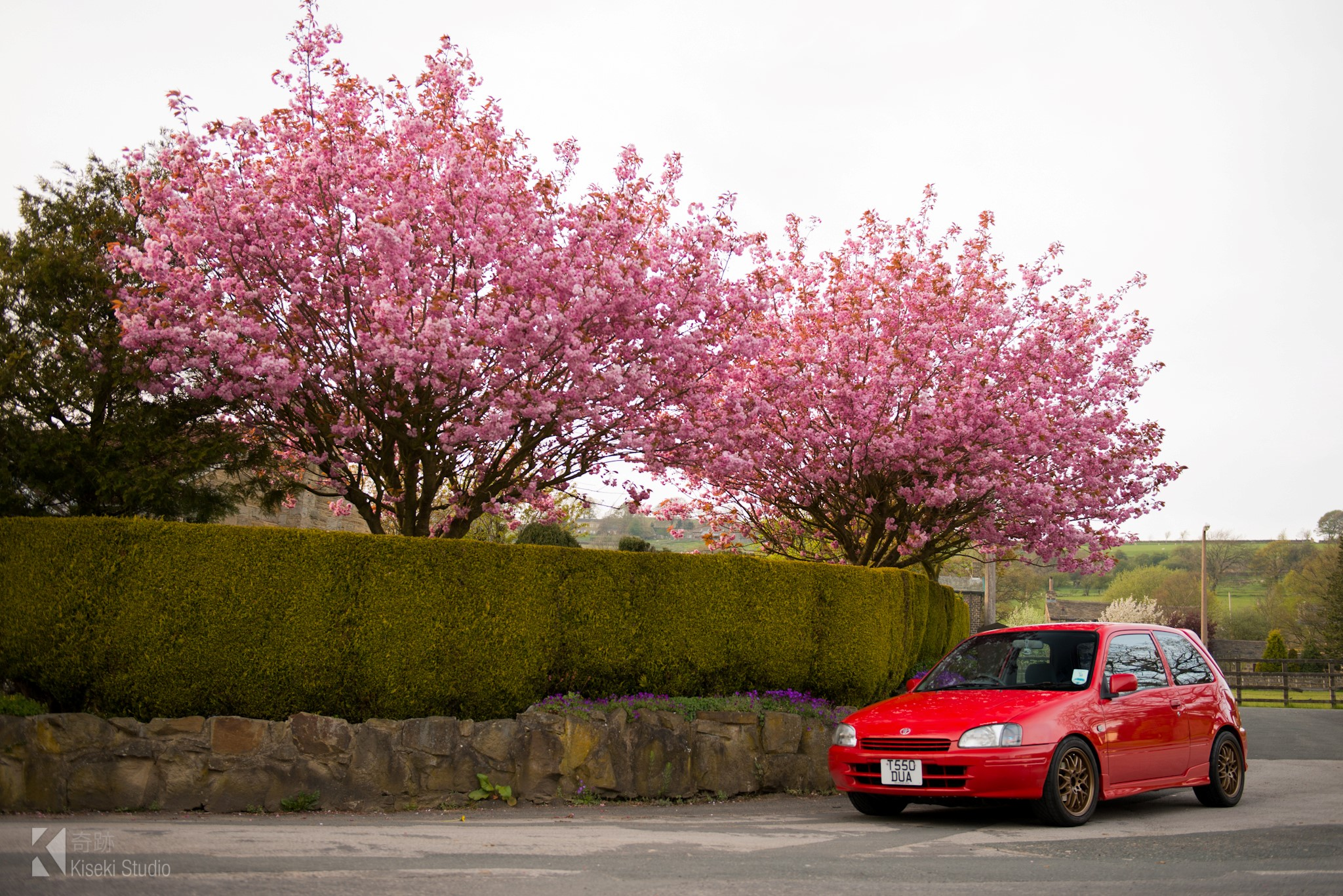Toyota Starlet EP91 next to blossoms