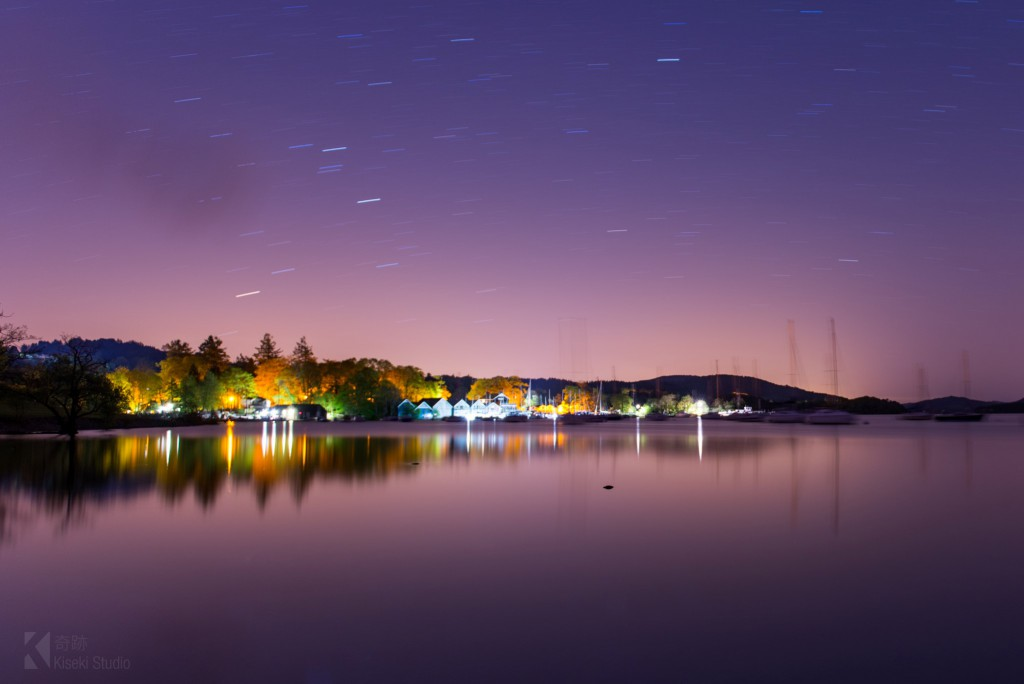 Coniston Lake at night star trails
