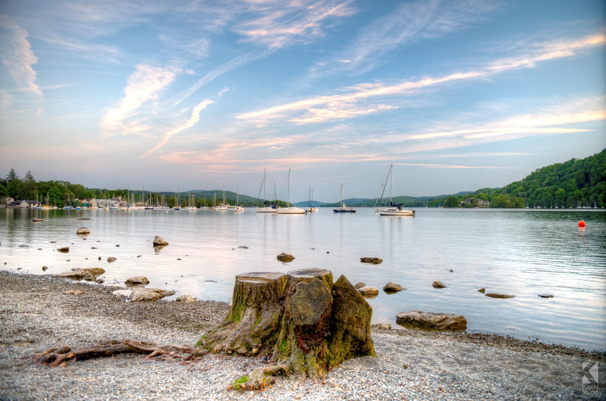 Lake Windermere and a tree stump