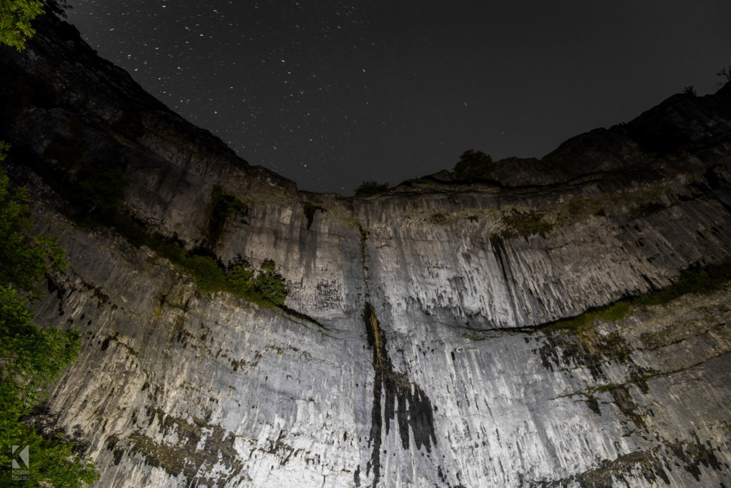 Malham Cove at night with stars