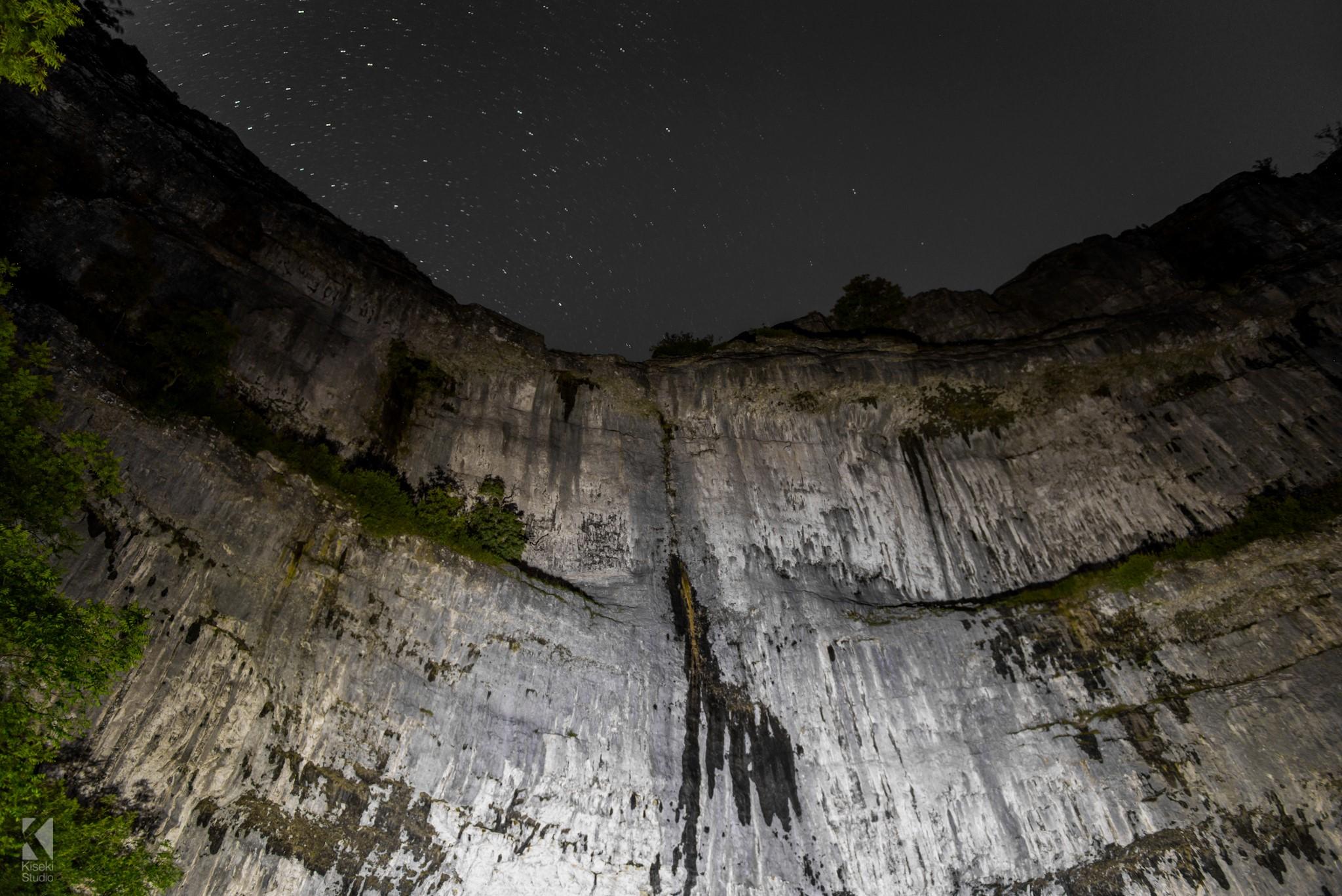 Malham Cove at night with stars
