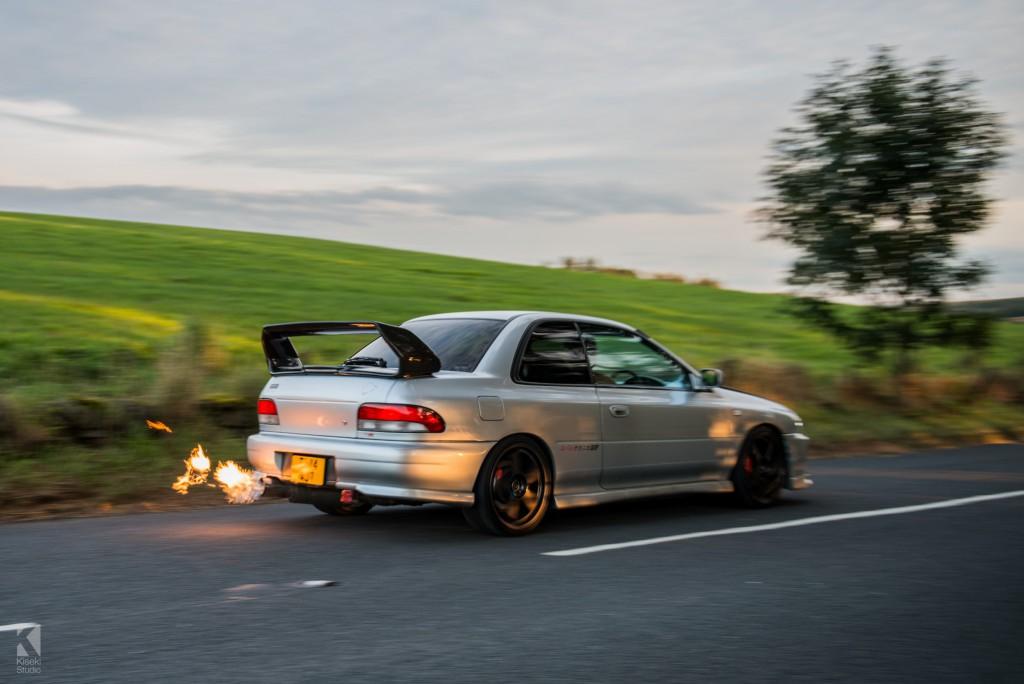 Subaru Impreza STI GC8 flames