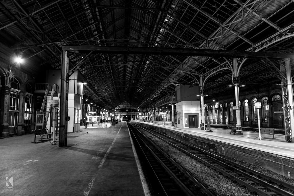 Preston Train Station black and white