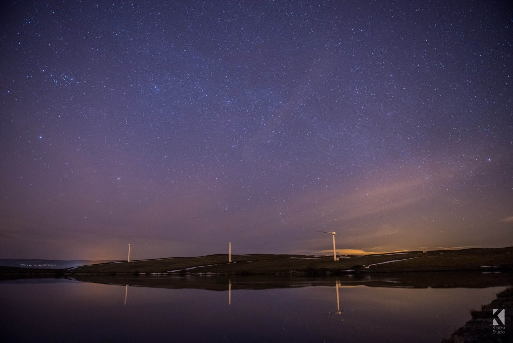 Chelker Reservoir at night with stars