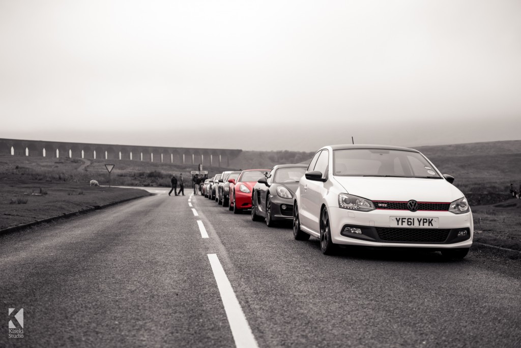 Car lined up at Ribblehead viaduct