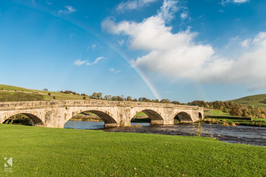 Burnsall bridge with rainbow
