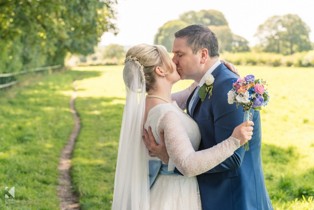 The newly weds share a kiss