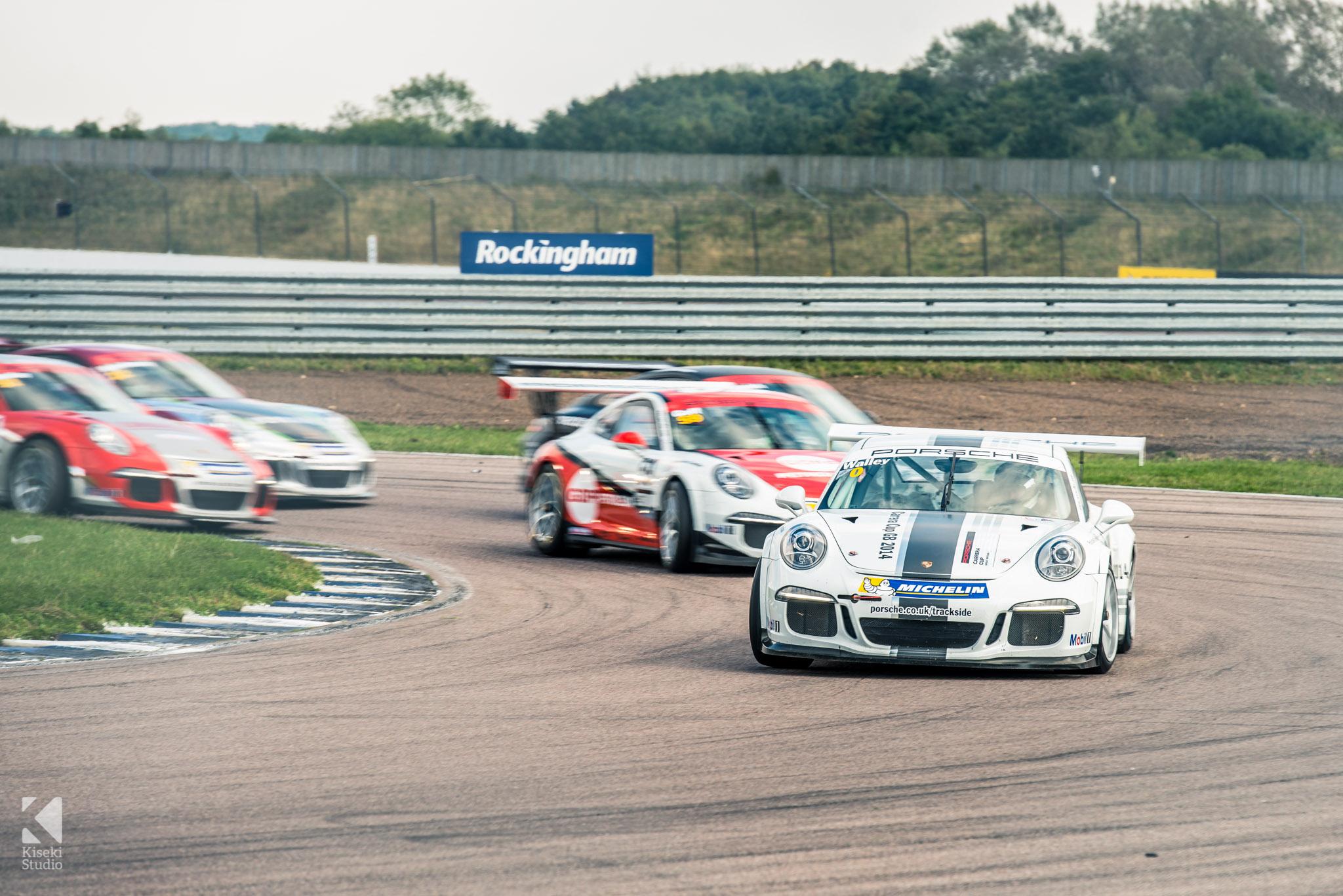 Porsche Carrera Cup at Rockingham in action