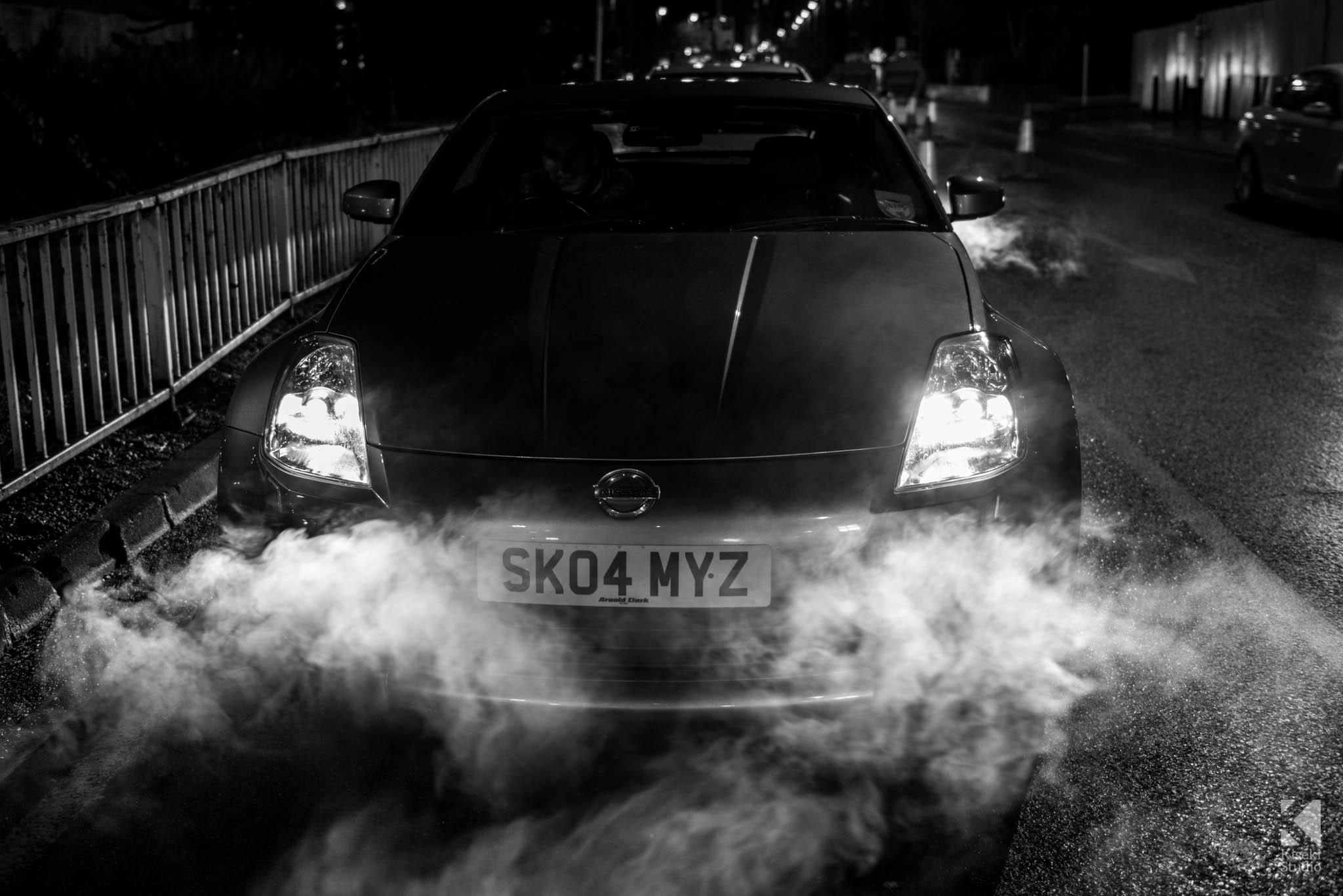 Nissan 350Z sat in smoke
