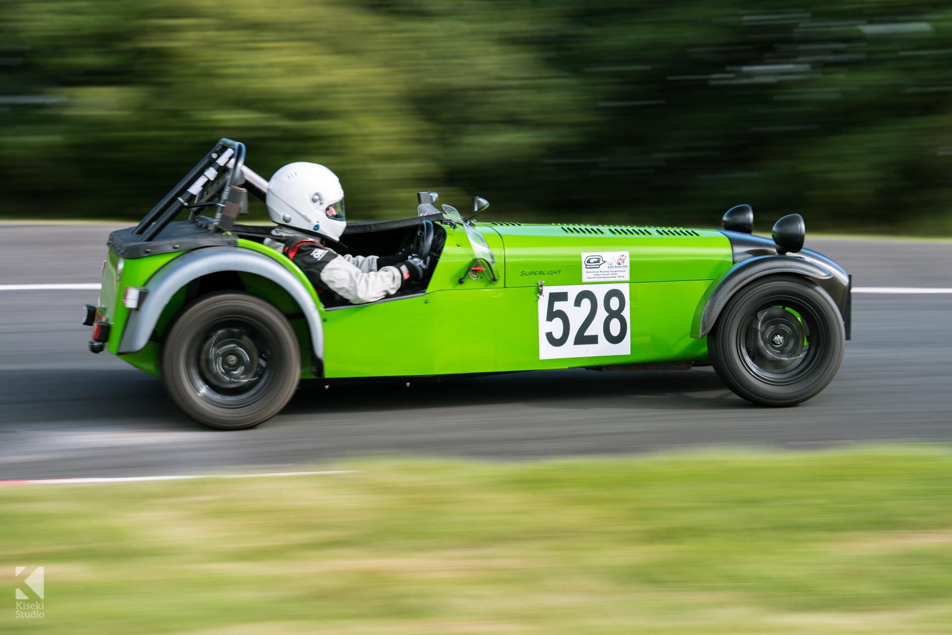 Caterham 7 Lotus in green at Harewood Hillclimb