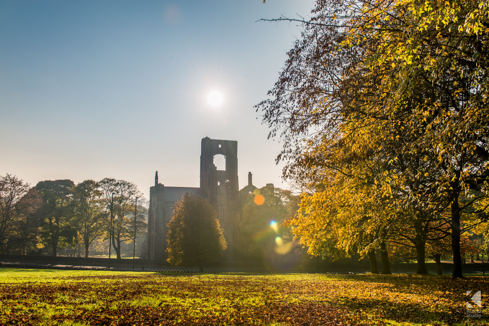 Kirkstall Abbey on a sunny autumnal day