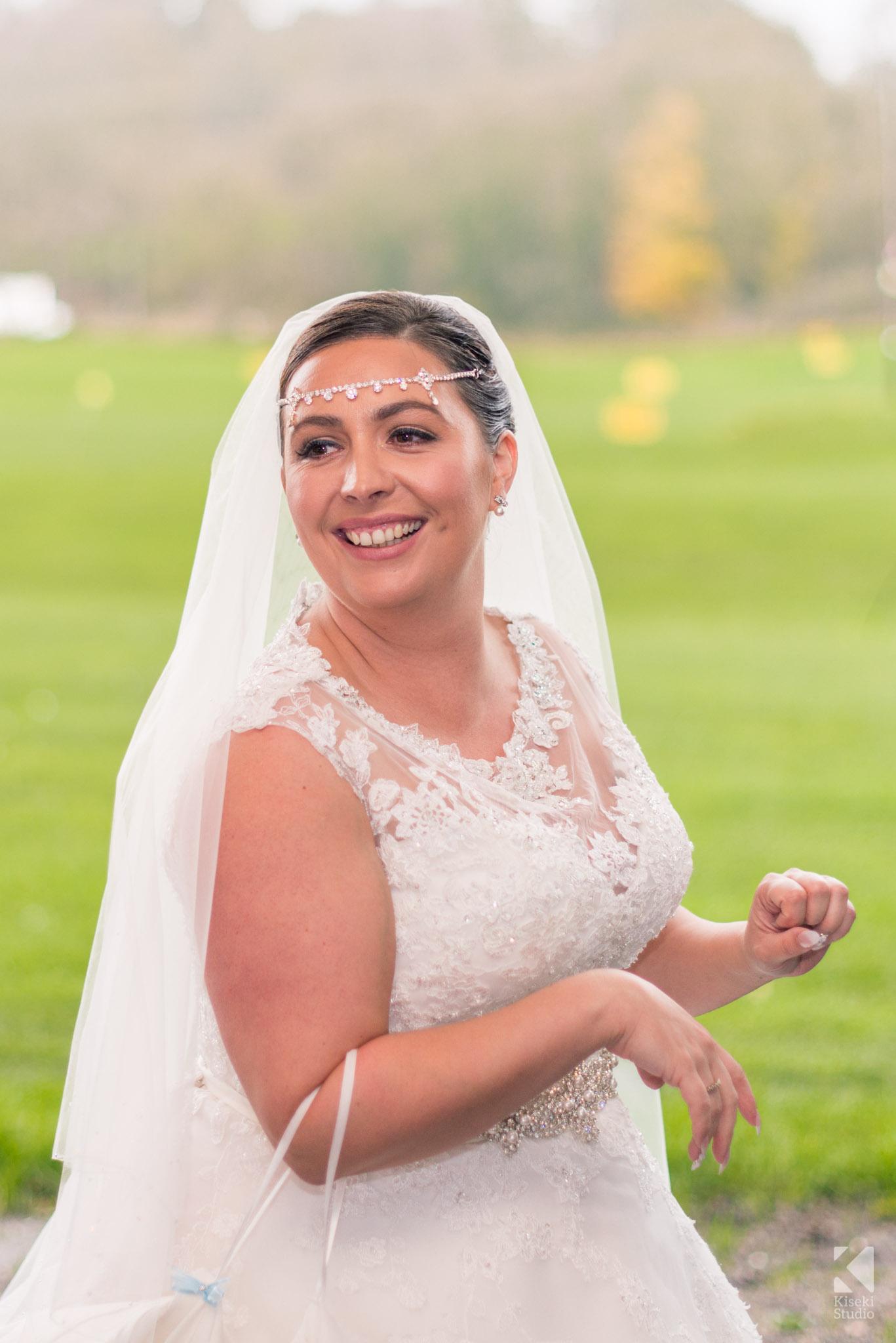 Bride posing a the golf driving range