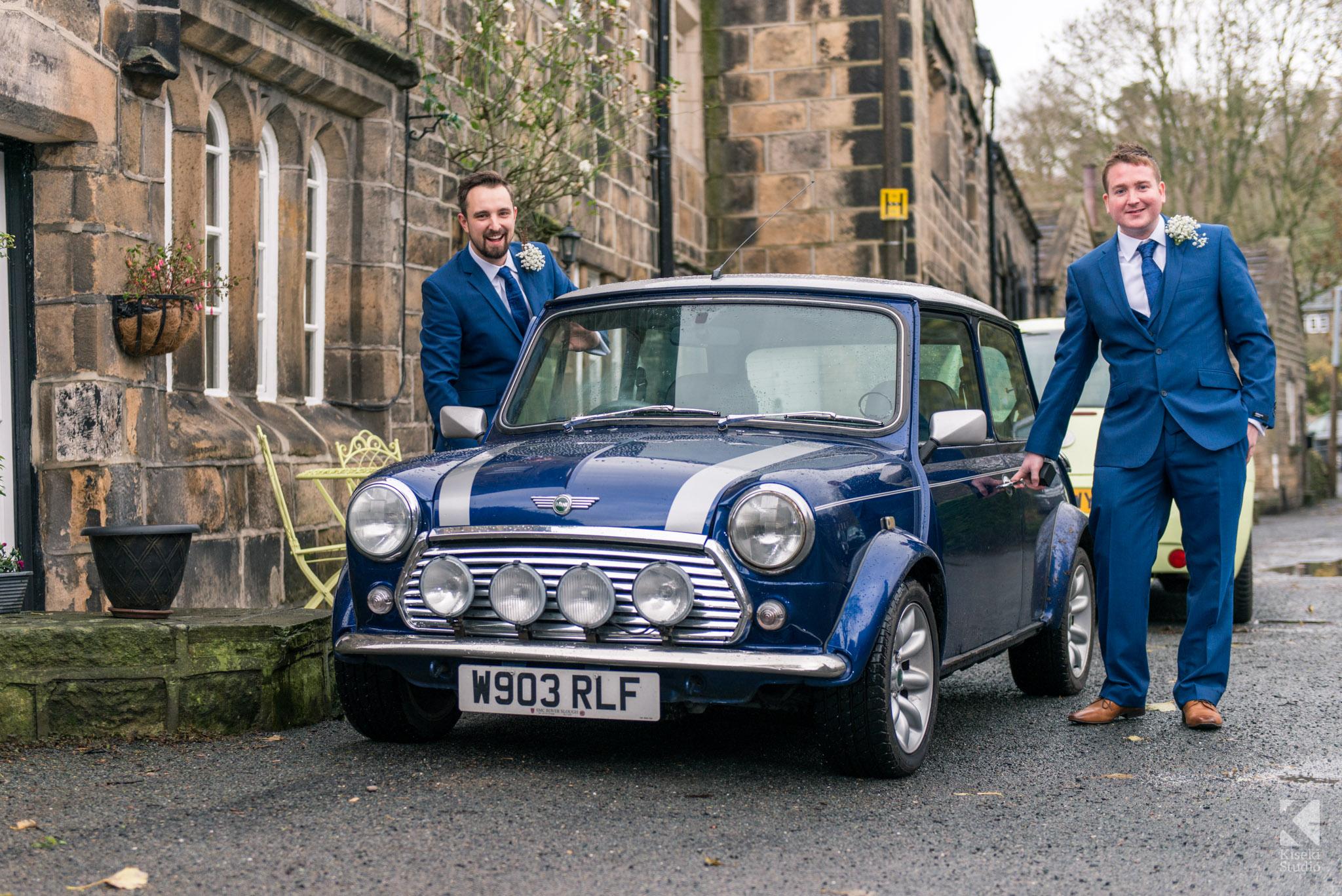Groomsmen in the Mini Cooper classic
