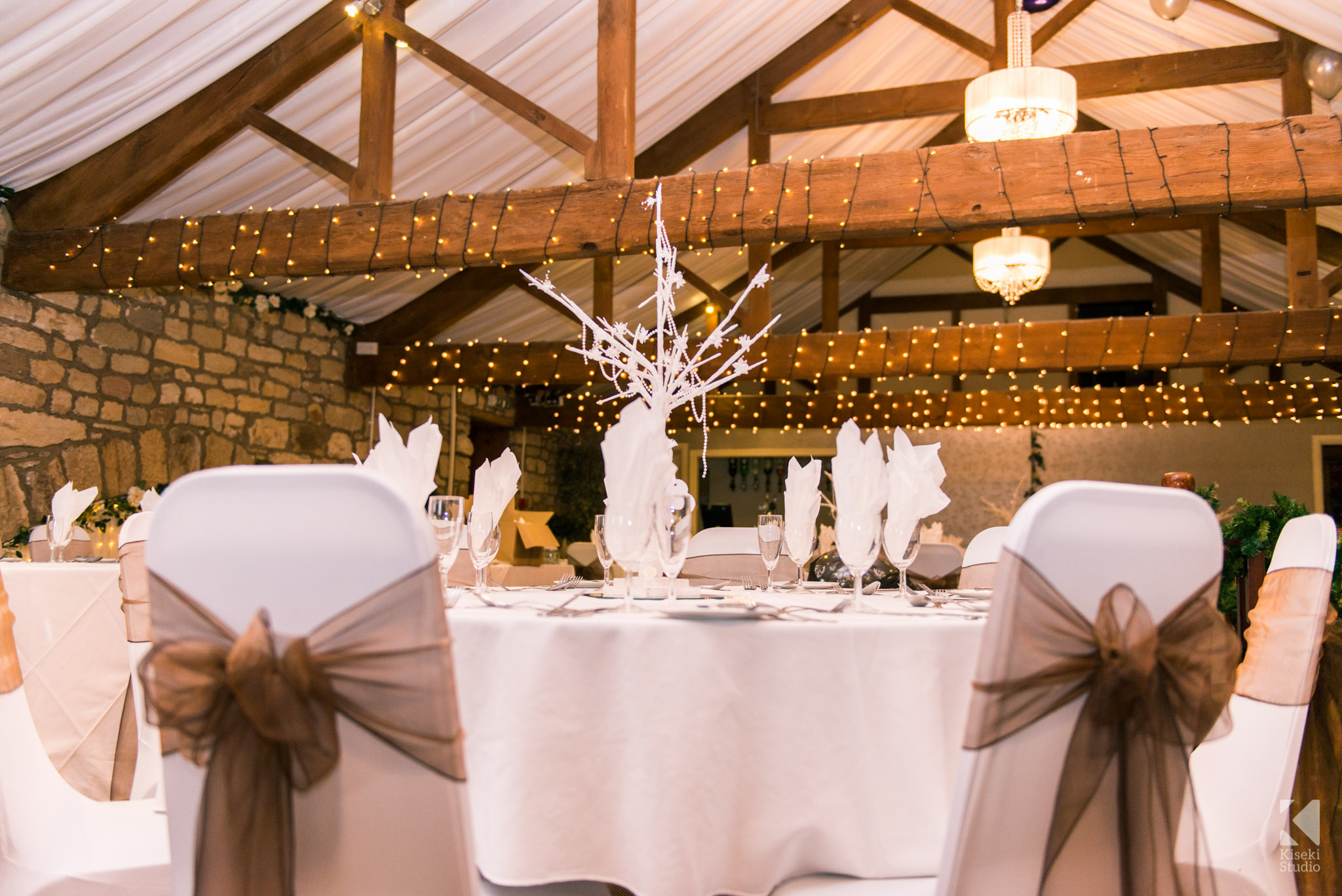 Wedding venue decorations at The Old Barn