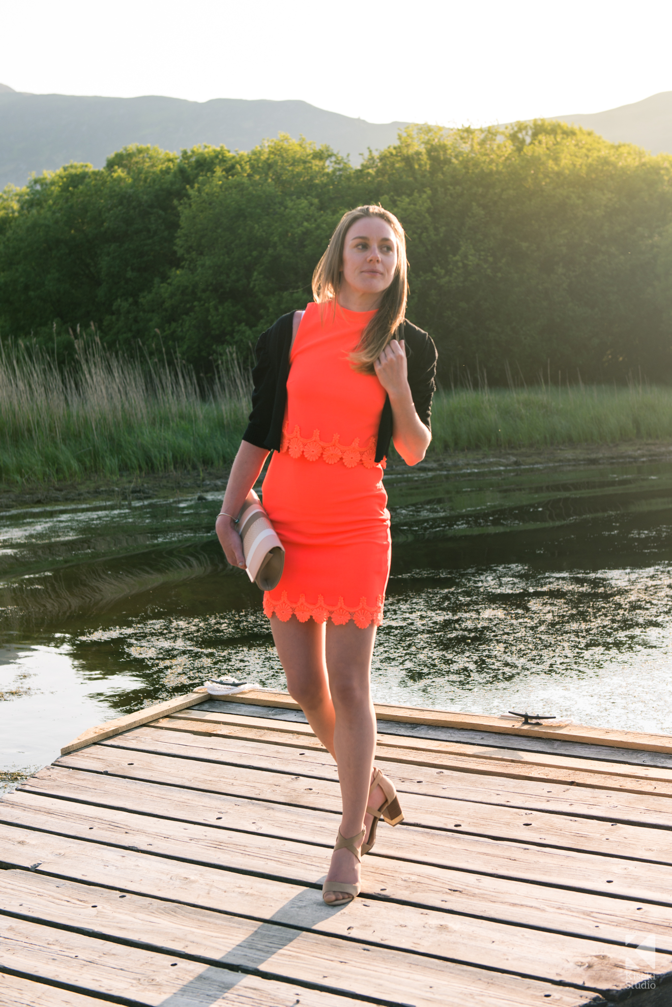girlfriend-at-wedding-derwentwater-coral-dress-young-pretty