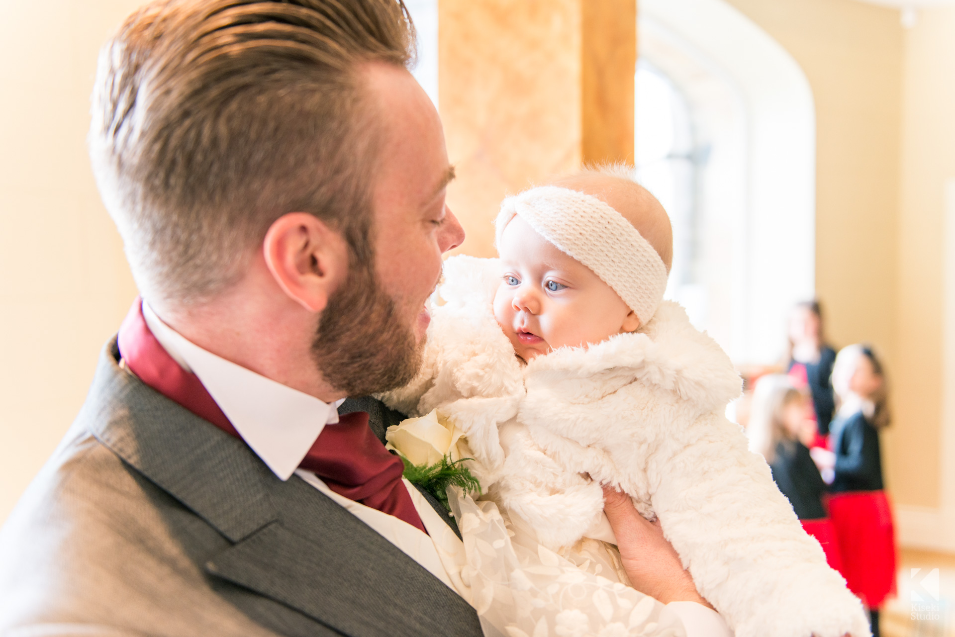 NYE Wedding at Ripley Castle - Newborn baby looking cute