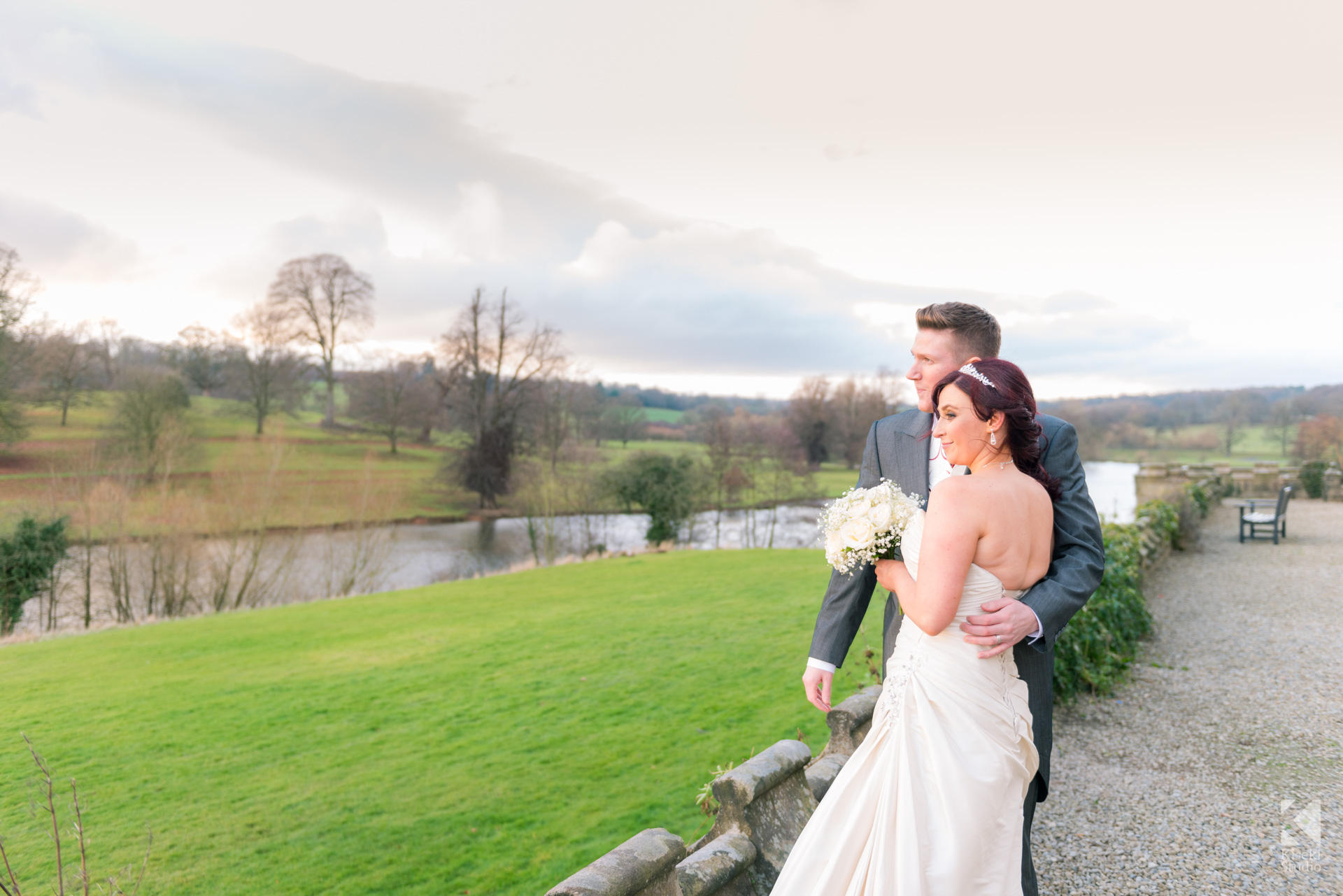 Ripley Castle Wedding - Bride and Groom enjoying the view
