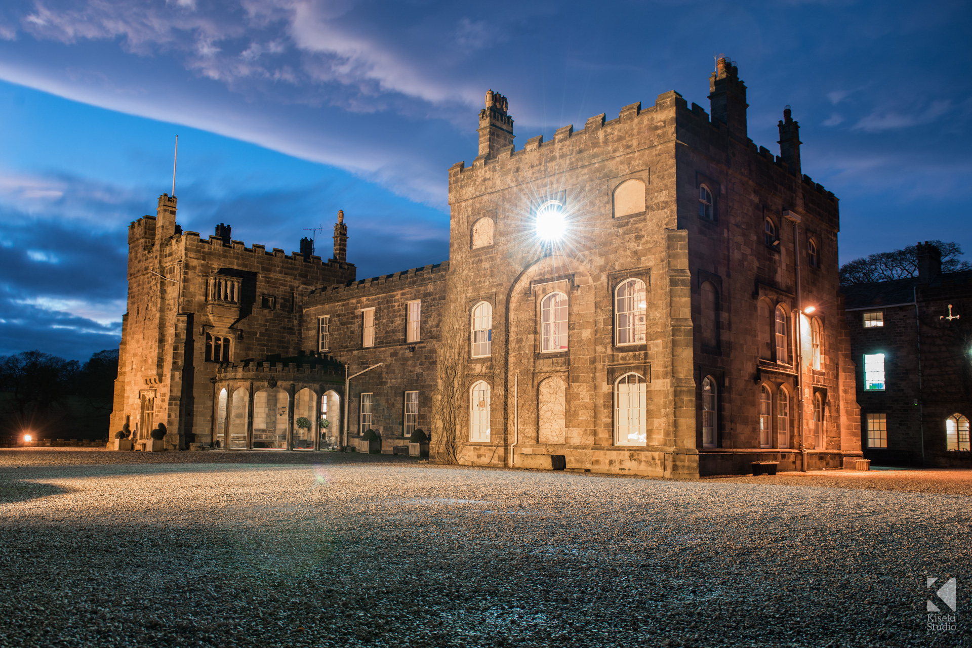 Ripley Castle Wedding building at night