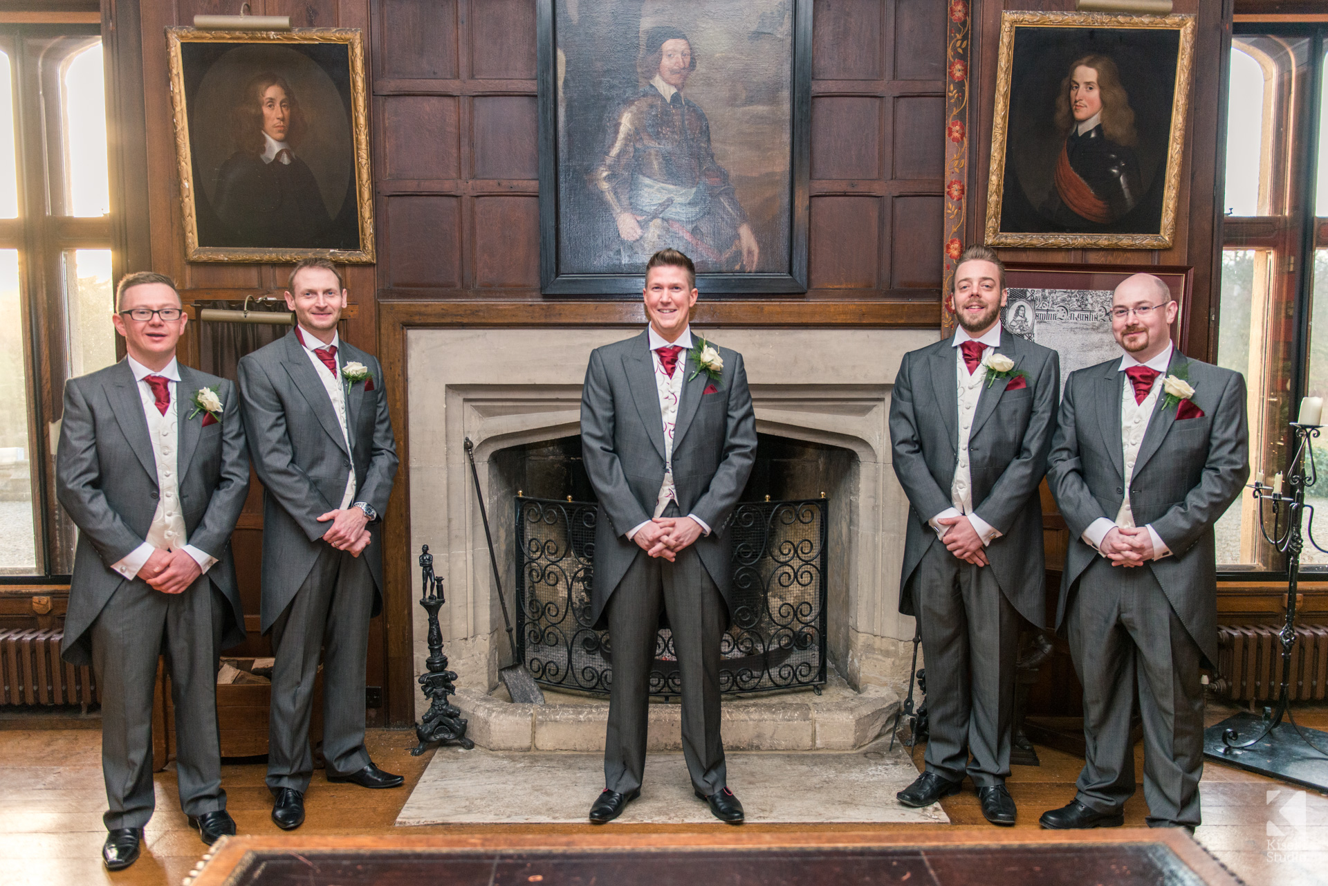 Ripley Castle Wedding - Groomsmen posing in grand room