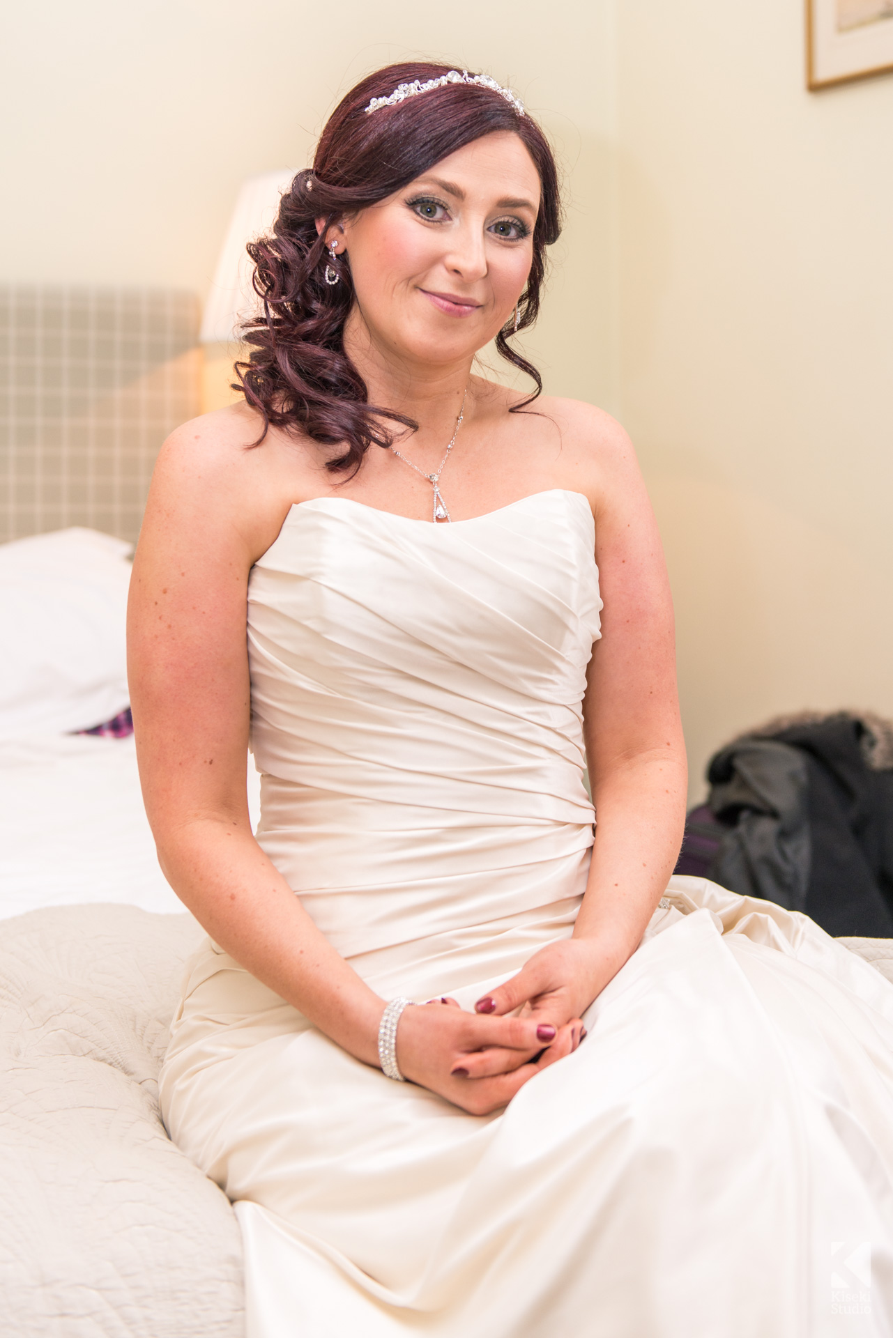 NYE Wedding at Ripley Castle - Bride in her lovely white dress