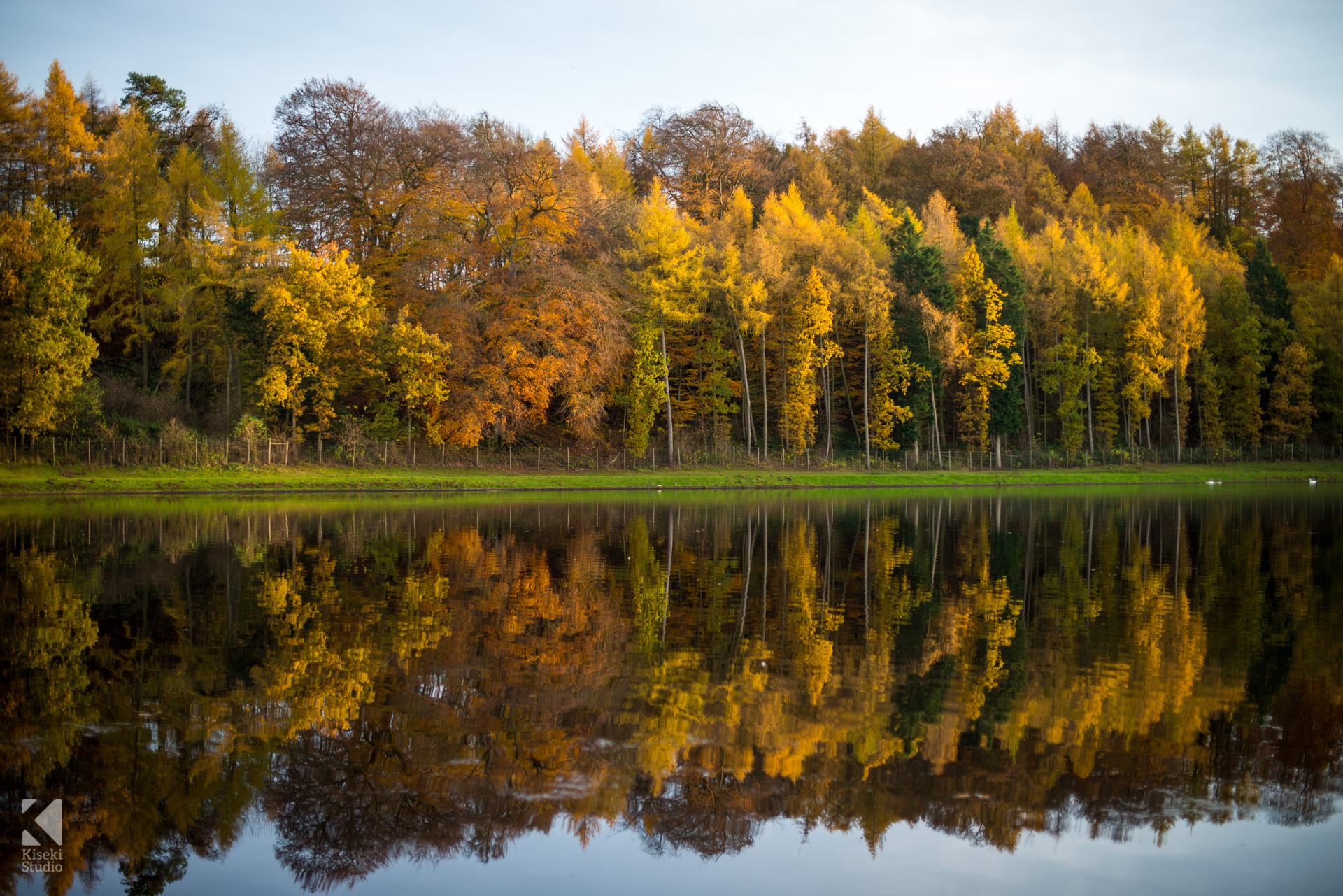 Studley Royal Park Lake Water Calm Autumn Reflections