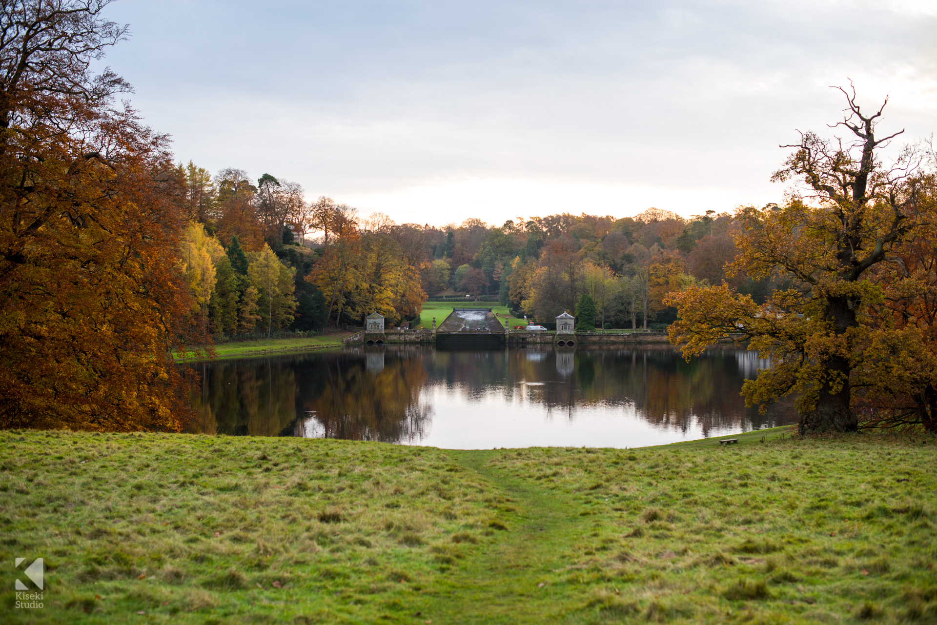 Studley Royal Park Lake Water Calm Autumn