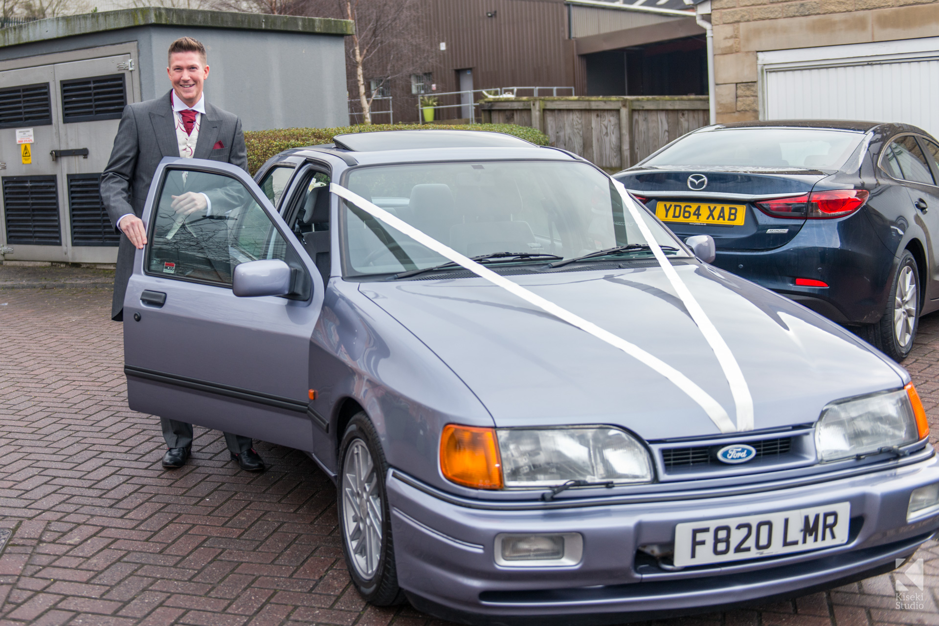 NYE Ford Sierra Sapphire Cosworth Wedding Car with Groom